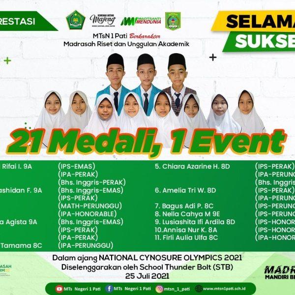 Sebanyak 11 Siswa MTsN 1 Pati Borong 21 Medali Cynosure Olympics