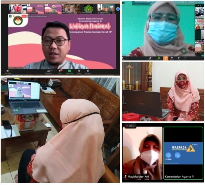 Ketua beserta pengurus DWP Kemenag Pati ikuti Webinar Nasional Penanganan Pasien Isoman Covid-19.