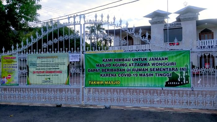 Masjid Agung At taqwa kabupaten Wonogiri di tutup untuk kegiatan peribadatan termasuk sholat idul adha