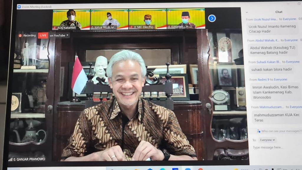 Gubernur Jateng, Ganjar Pranowo saat memberikan arahan pada acara Doa Bersama Lintas Agama pada Rabu (14/07).