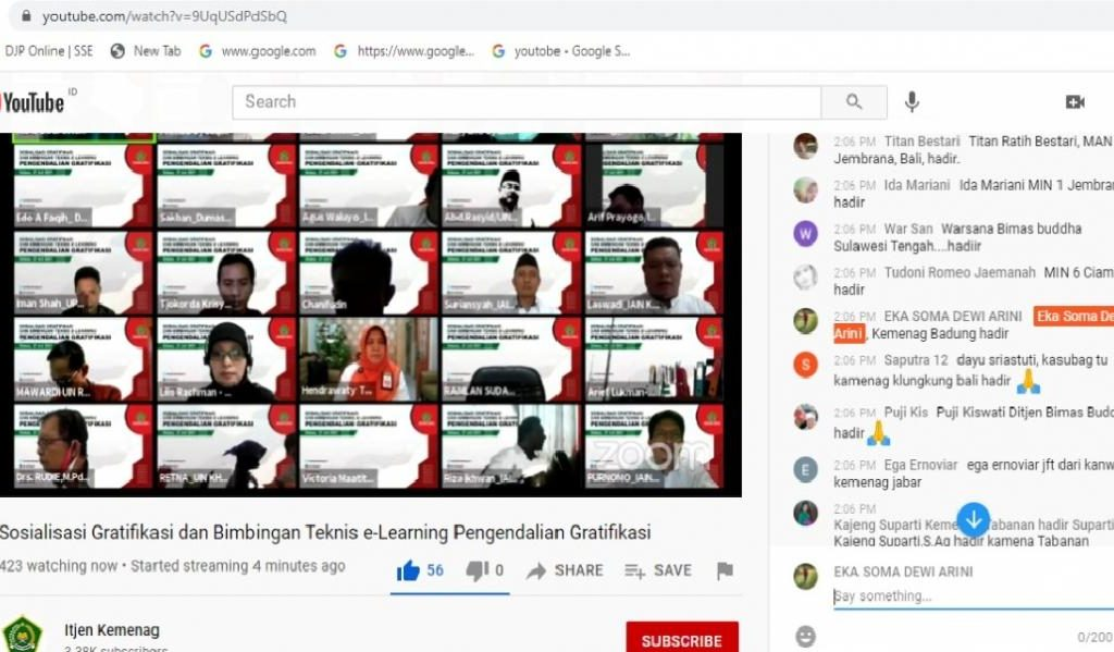Live Streaming Youtube Sosialisasi dan Bintek E-lerning Pengendali Gratifikasi
