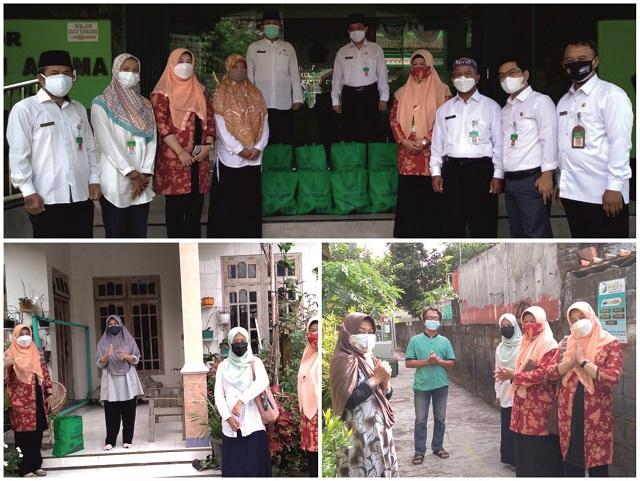 Perwakilan DWP Kankemenag Kab. Boyolali menyerahkan bantuan sosial kepada ASN yang terpapar Covid-19