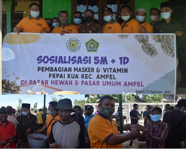 Kegiatan Sosialisasi 5M 1D serta Pembagian Masker dan vitamin oleh FKPAI Kec. Ampel