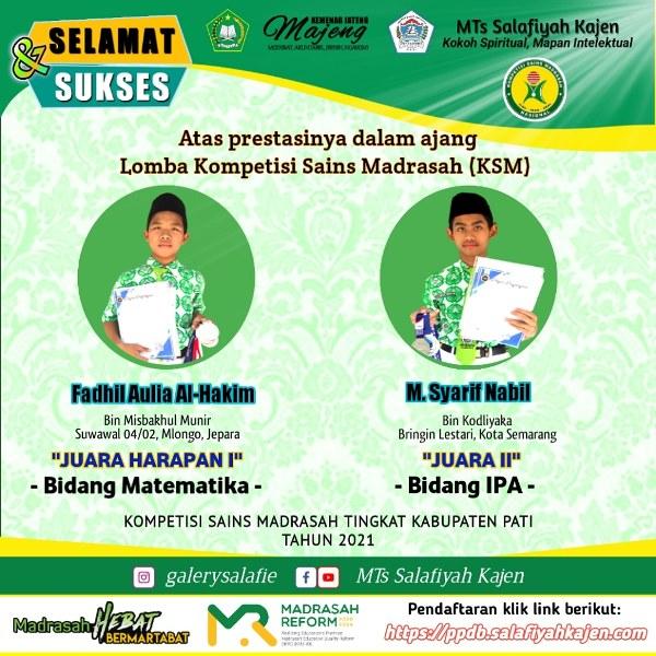 Dua Siswa MTs Salafiyah Juara KSM 2021