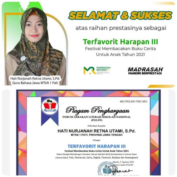 Hati Nur Janah Retna Utami, Guru MTsN 1 Pati Raih Juara Favorit Festival Literasi Nasional.
