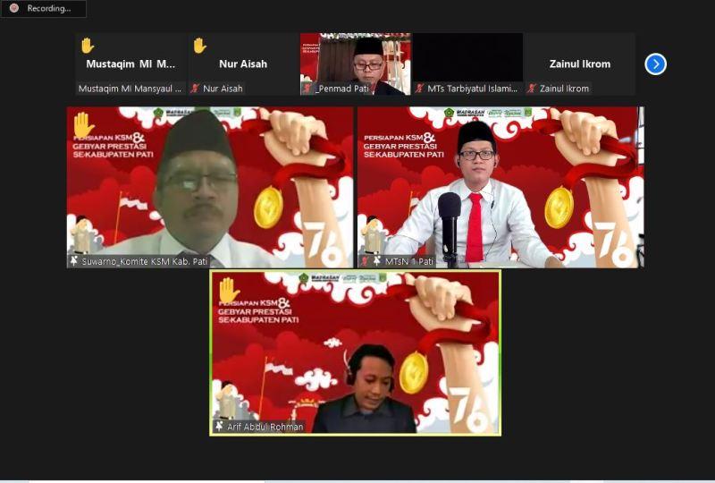 "virtual meeting ""Persiapan KSM dan Gebyar Prestasi Madrasah se Kab. Pati"
