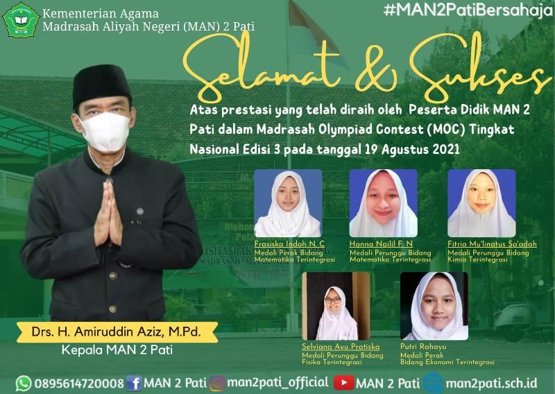 Peserta Didik MAN 2 Pati Raih Prestasi Pada Madrasah Olympiad Contest
