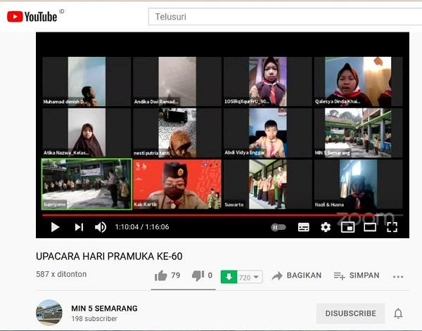 Upacara Peringatan Hari Pramuka MIN 5 Semarang Via Youtube Channel