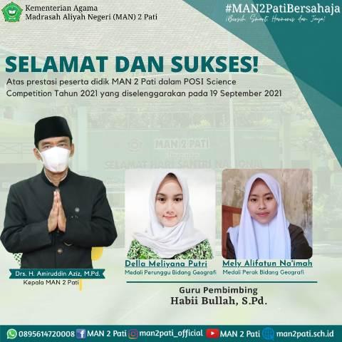 Dua Peserta Didik MAN 2 Pati Harumkan Madrasah
