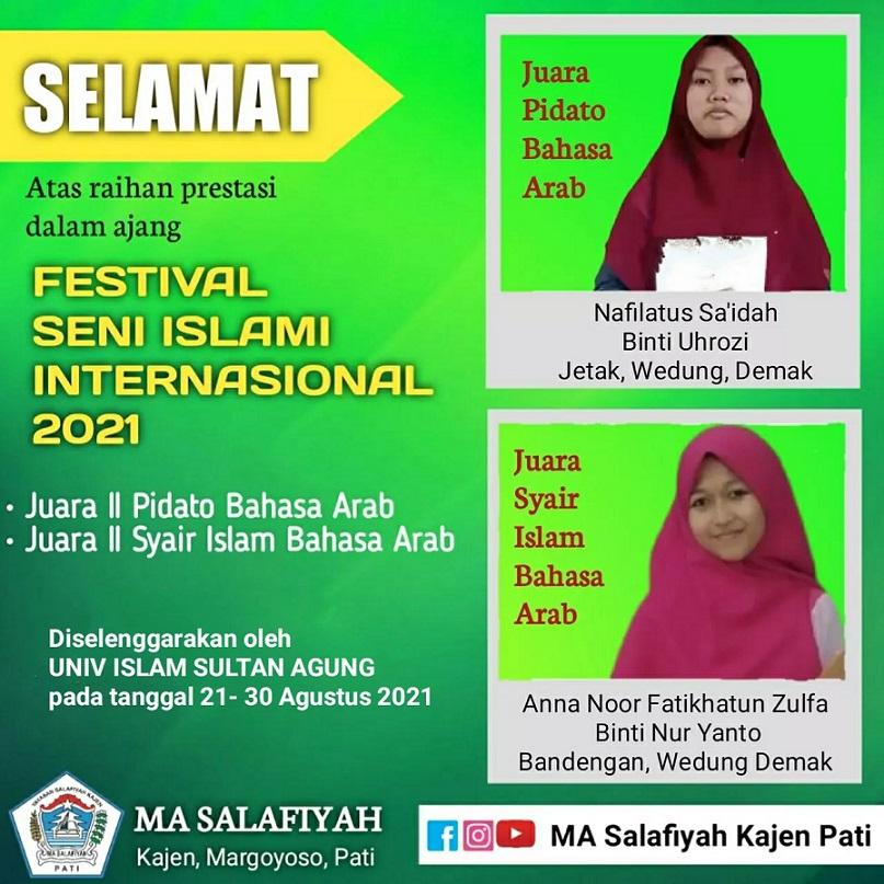 Dua Siswi MA Salafiyah Kajen Pati Raih Prestasi Internasional