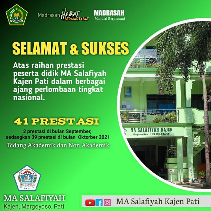 MA Salafiyah Kajen Pati Raih 41 Prestasi Tingkat Nasional