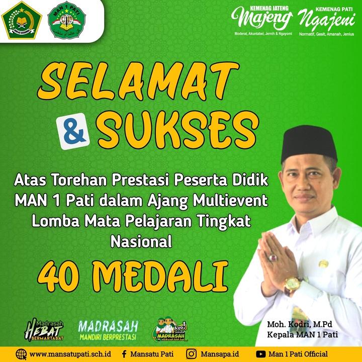 MAN 1 Pati Borong 40 Medali Dalam Multi Event Nasional